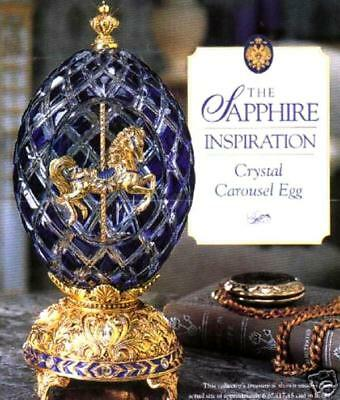 Franklin Mint House of Faberge Sapphire Inspiration Crystal Carousel Egg