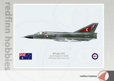 Warhead Illustrated Mirage IIIO RAAF 76Sqn Williamtown A3-40 Aircraft Print
