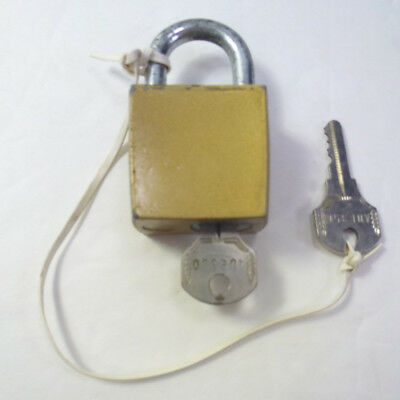 Vintage Brass Corbin Padlock Lock Ribbed Sides With 2 Keys