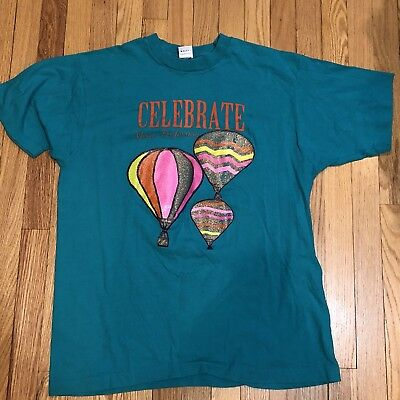 Vintage '90s 'Celebrate Your Profession' Hot air balloon soft teal t shirt XL