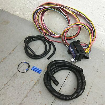 12v 18 Circuit 12 Fuse Universal Wiring Harness 14 circuit universal wire harness project car fairlane b&m rat rod