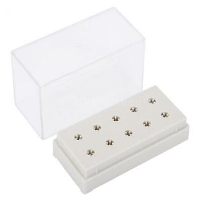 10 Holes Nail Drill Bits Holder Display Standing With Cover Storage Box M3F6