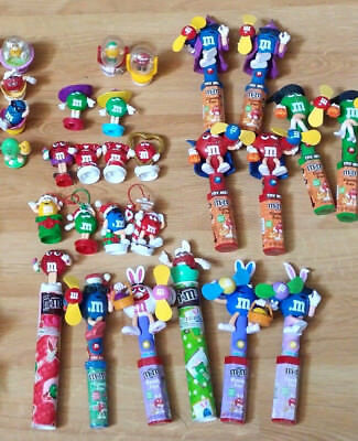 M&M Lot of 39! Candy Tube Toppers 12 Sealed CHRISTMAS TRAIN Easter Halloween Toy