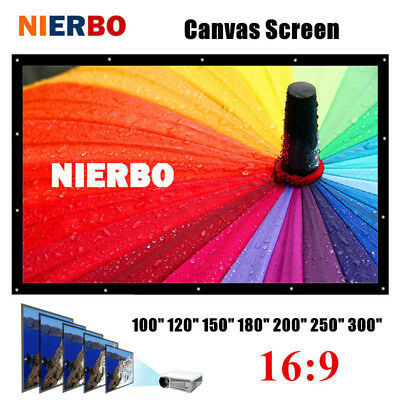 "100-300"" Projector Screen 16:9 Home Cinema Theater Projection Canvas Matte White"