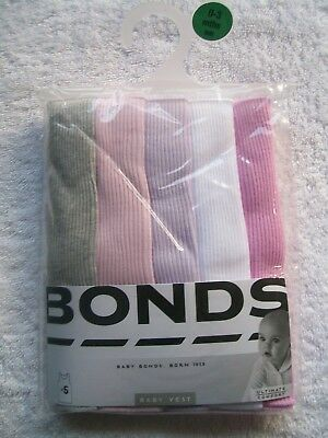 BNIP Baby Girl's Bonds 5 Pack Grey, Pink, Purple & White Singlets Size 000 & 00
