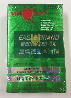 "2 x Eagle Brand Medicated Oil Massage Healing Liniment 24ml (2 bottles) ""AUSSIE"""