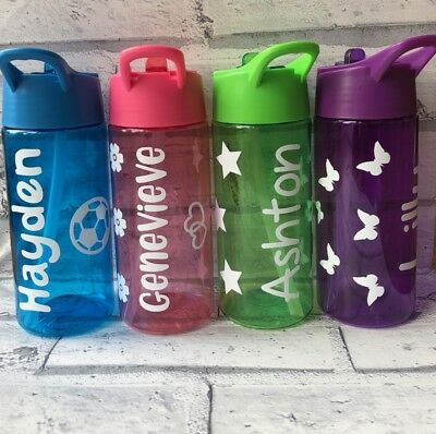 Personalised Kids Water Bottle 400ml Drinks Bottle School Holiday Party BPA Free