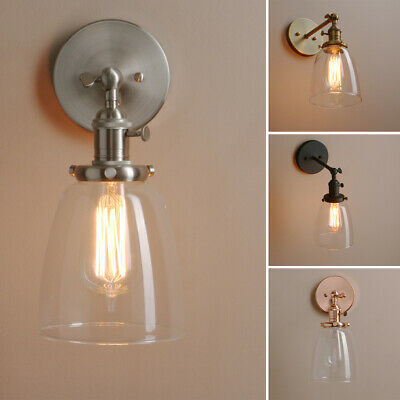 Rustic Industrial Wall Sconce Wall Lamp Light Glass Shade Wall Lamp W/Switches