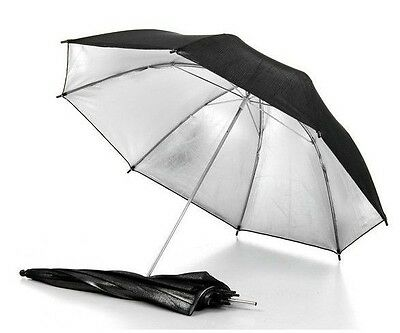 "33"" 83cm Studio Flash Light Reflector Black Silver Umbrella for Camera Speedlite"