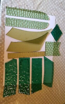 11 x small various Old pieces of stained glass spares/repair