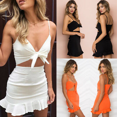 Women 2 Piece Bandeau Crop Top Bodycon Skirt Co Ord Set Party Holiday Mini Dress