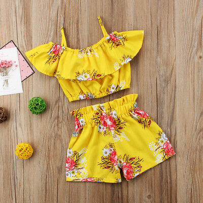2PCS Baby Girl Kids Flower Halter Crop Tops + Shorts Pants Summer Outfit Clothes