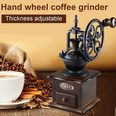 Vintage Manual Coffee Grinder Wheel Design Coffee Bean Mill Grinding UK