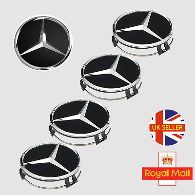 4x MERCEDES BENZ ALLOY WHEEL CENTER CAPS BLACK 75MM FITS MOST MERCEDES VEHICLES