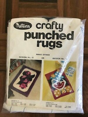 Vintage Retro Patons crafty punched rugs kit 2 designs 15 floral or 16 clown