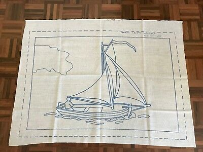 Vintage Retro Patons crafty punched rugs canvas 2 designs 23 boat or 24 teddy