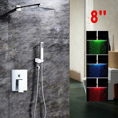 Chrome LED 8Inch Rainfall Shower Faucet Set with Wall Mount Hand Spray Mixer Tap