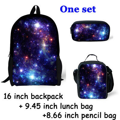 One Set Backpack Lunch Bag Galaxy Print Pencil Case For Boy Girls Back To School