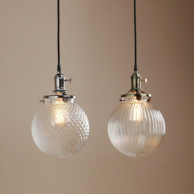 CHIC VINTAGE RIBBED GLASS PENDANT LIGHTSHADE GLOBE CEILING LAMP W/Switches