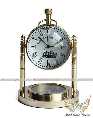 Nautical Brass Shiny Table Clock With Compass Maritime Desk Top Decor Gift Item