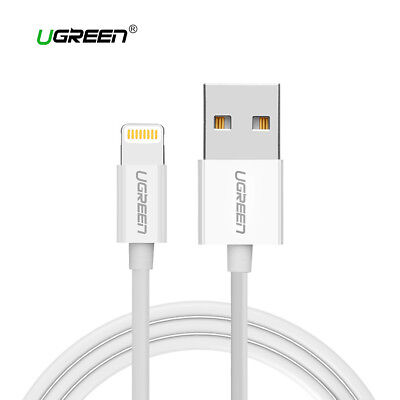 Cable USB lightning para iPhone UGREEN certificado MFI Apple 2.4A blanco 1M 2M