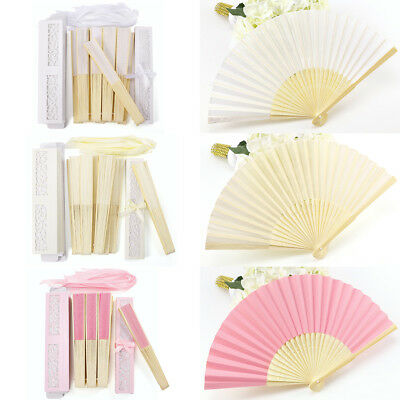 10 Silk Hand Fan Dance Fans Wedding/Party Favours White Ivory Pink