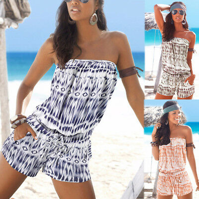 UK Womens Summer Holiday Strapless Mini Playsuit Shorts Beach Jumpsuit Size 6-16