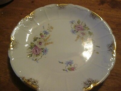 VINTAGE Pottery D.E. MCNICOL LIVERPOOL Floral with Gold Accents 10""