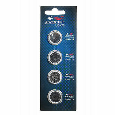 Adventure Lights CR-2032 Lithium Cell Batteries 4- Pack For Guardian & Trident
