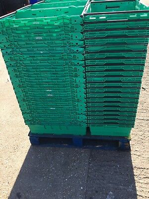 100 x Bail Arm Crates Storage Plastic Boxes Stacking Tray 60-40-16cm