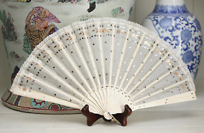 A Good Antique c19th Fan, Bovine Sticks, Cream Silk, Lace Trim & Sequins