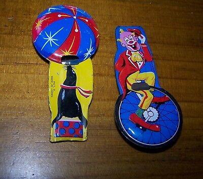 2 Vintage Tin Lithiograph Whistles With Circus Designs - Japanese Made
