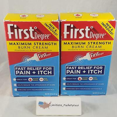 (2 Pack!) First Degree Maximum Strength Burn Cream, 3/4 oz Tube - EXP: 02/2019