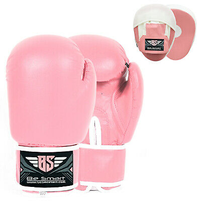 Pink Women Focus Pads and Boxing Gloves Set Hook & Jabs Mitts Ladies MMA Fight