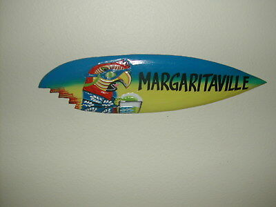 """Buffet Parrot Wall Plaque """"margaritaville"""" 20""""x 6"""" Hand Painted Surf Board Style"""