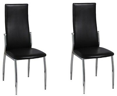 Wondrous Dining Chairs Black Artifiial Leather Padded Seat Kitchen Pabps2019 Chair Design Images Pabps2019Com