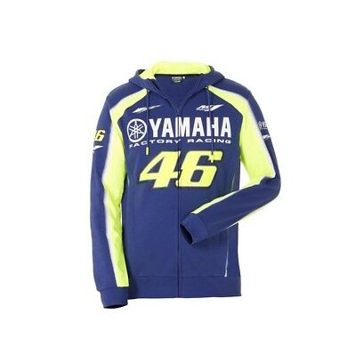 Official 2018 Valentino Rossi VR46 Yamaha Racing Blue MotoGP Mens Zip-up Hoodie