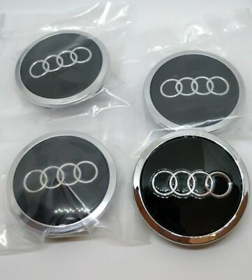Neu 4 x 69mm Audi Schwarz Black Nabenkappen Nabendeckel Alloy Wheel Centre Cap
