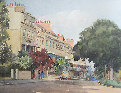 A Fine c20th Watercolour 1958, GEORGE HOLLOWAY, 'Harley Place, Clifton'.