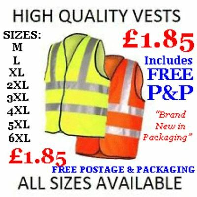 Hi Viz Vest High Vis Safety | Yellow &orange | Waistcoat Visibility Jacket En471