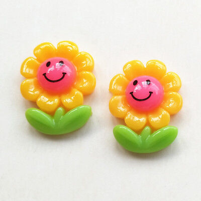 Cute Smile Face Yellow Sunflower Flatback Resin Button DIY Craft Embelishment