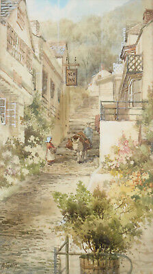 A Beautiful Edwardian Watercolour 1902, E. W. TRICK, Clovelly, Devon