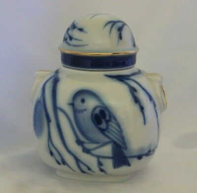 Vintage Lomonosov Russia porcelain tea caddy with lid blue & white china
