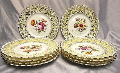 (10) MEISSEN - Plates - Reticulated Rimmed - Hand Painted Enamel Flowers-
