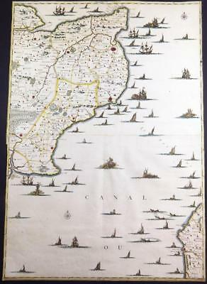 c1720 Very Rare LARGE ANTIQUE MAP of EAST KENT & ENGLISH CHANNEL by Friex
