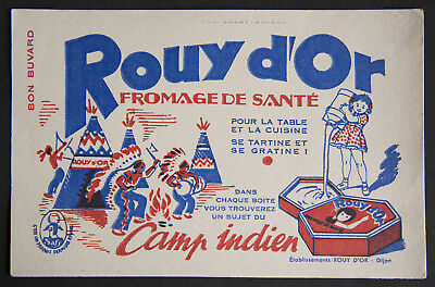 Buvard Publicitaire Ancien : Fromage Rouy D'or Camp Indien - Dijon