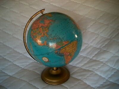 "Cram's Imperial World Globe With Brass Base 12"" - Made In Usa"