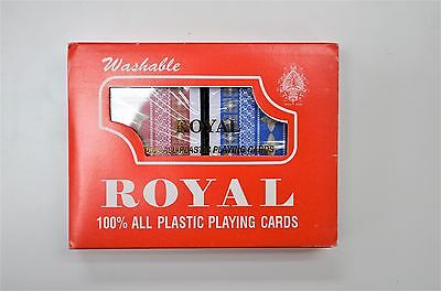2-Decks  Royal 100% Plastic Playing Cards Set Plastic Case Vintage NEW