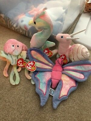 *NWT* TY Pastel Collection - Set Of 4 - Sea Horse, Butterfly, Snail, Octopus