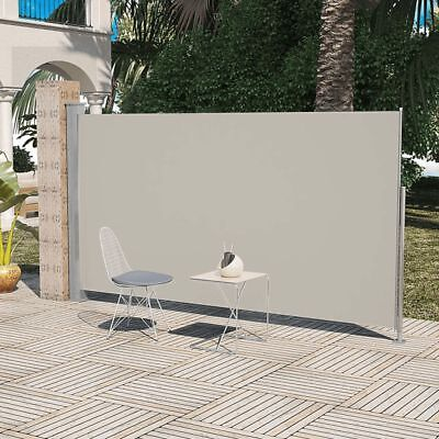 Patio Terrace Retractable Side Awning Garden Privacy Divider 160 x 300 cm Cream